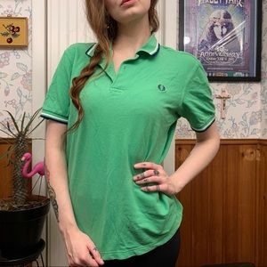 Fred Perry Rare Vintage Green Polo Collared Top Md